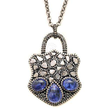 Tanzanite, Blackened Sterling Silver Pendant Necklace.