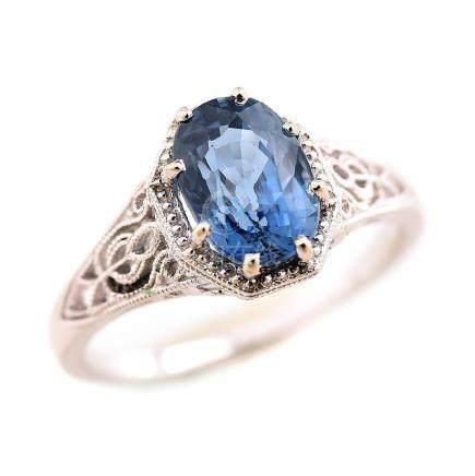 Sapphire, Platinum Ring.