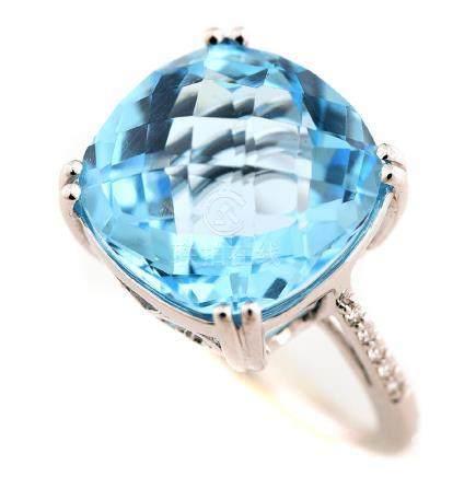 Blue Topaz, Diamond, 14k White Gold Ring.
