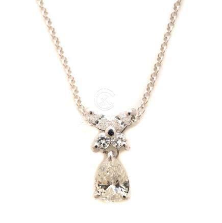 Diamond, Platinum, 18k White Gold Pendant Necklace.