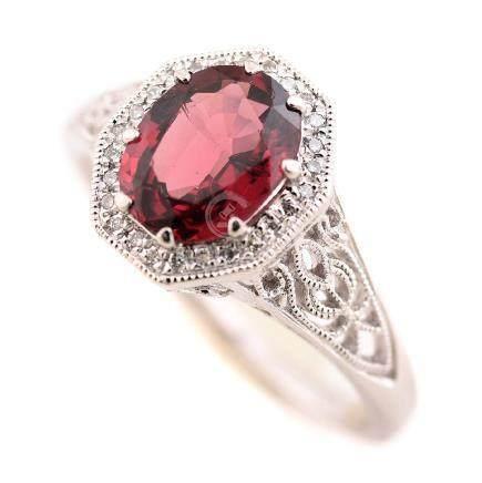 Garnet, Diamond, Platinum Ring.