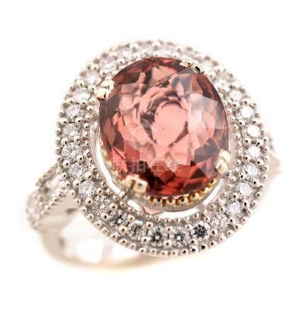 Tourmaline, Diamond, 14k White Gold Ring.