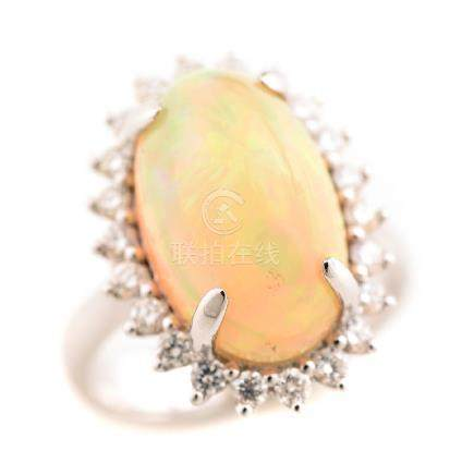 Opal, Diamond, 18k White Gold Ring.