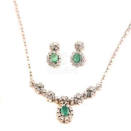Emerald, Diamond, 18k White Gold Jewelry Suite.