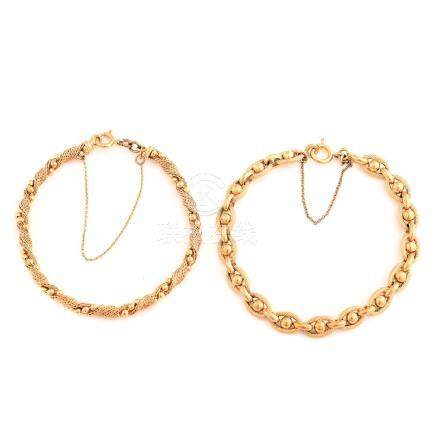Collection of Two 18k Yellow Gold Bracelets.