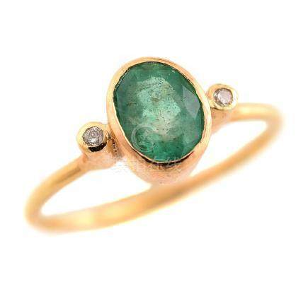 Emerald, Diamond, 18k Yellow Gold Ring.