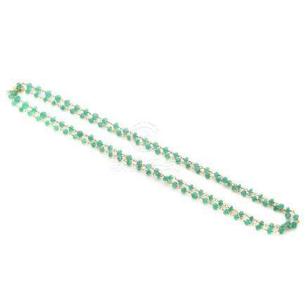 Emerald Bead, 18k Yellow Gold Necklace.