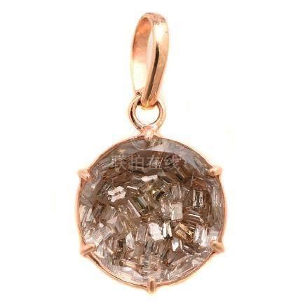 "Diamond, 14k Rose Gold ""Shaker"" Pendant."