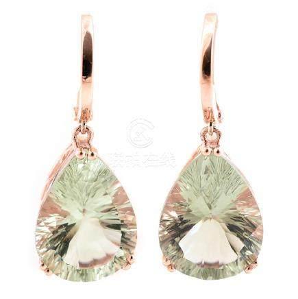 Pair of Green Quartz, 14k Rose Gold Earrings.