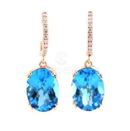 Pair of Blue Topaz, Diamond, 14k Rose Gold Earrings.