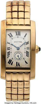 54003: Cartier, Tank Americaine, 18K Pink Gold Case and