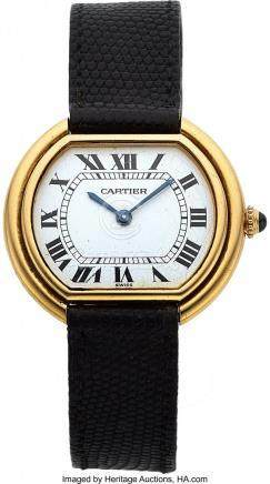 54007: Cartier, Ellipse, 18K Yellow Gold, Manual Wind,