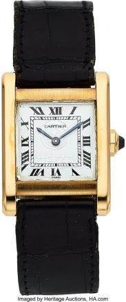 54008: Cartier Mid-Size Gold Tank Wristwatch  Case: 30