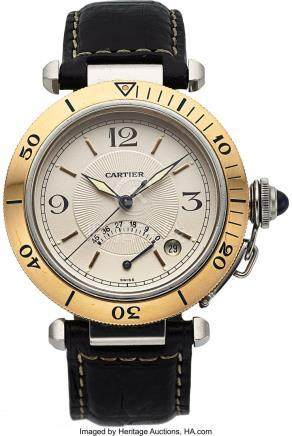 54017: Cartier, Pasha Power Reserve, Stainless Steel an