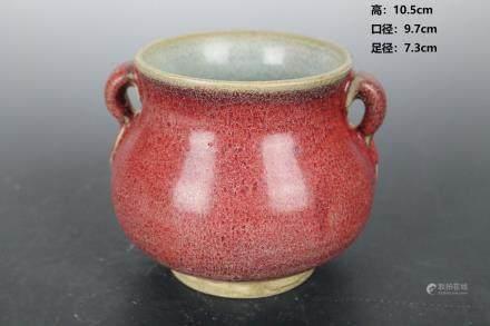 Yuan Jun Kiln Rose Red Ear Oven