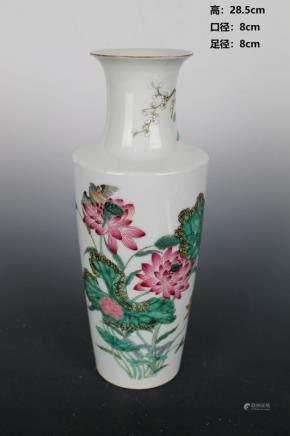 Qing Qian Long Pastel Flowers and Birds Stick Bottle