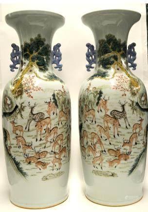 Pr Chinese Hundred Deer Vases