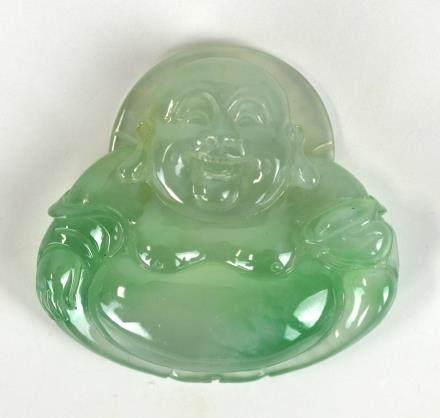 Chinese Natural Jadeite Pendant of Happy Buddha