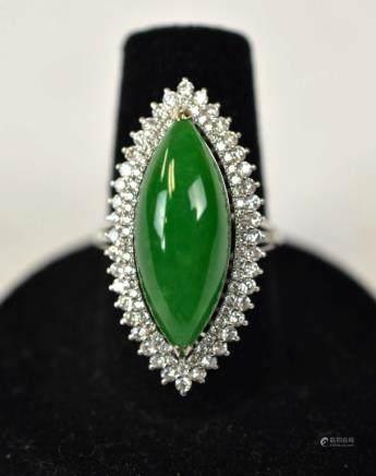 18K Gold Mounted Natural Jadeite Ring w. Diamonds