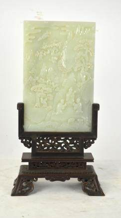 Chinese Carved White Jade Table Screen