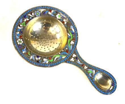 Russian Silver Enamel Tea Drainer