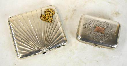Two Russian Silver Boxes with Gold