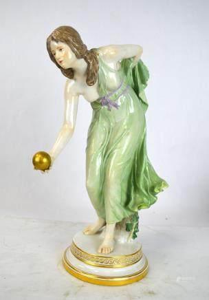 19th Cen. Meissen Lady Ball Thrower