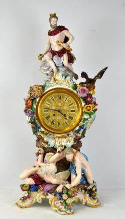 Large Rare Meissen Figural Clock