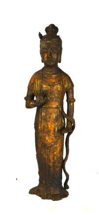 Large Tall Chinese Bronze Standing Buddha Figure