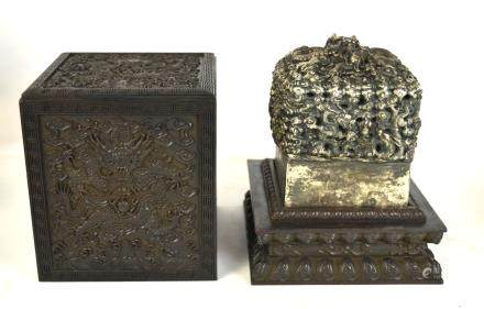 Chinese Large Metal Imperial Stamp in Wood Box