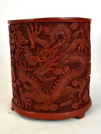Chinese Carved Cinnebar Brush Pot