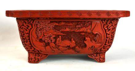 Chinese Carved Cinnebar Planter
