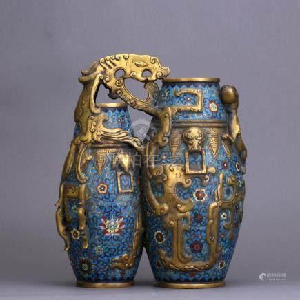 A gilt bronze overlay cloisonne doubled vase