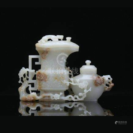 A Hetian white jade doubled vase