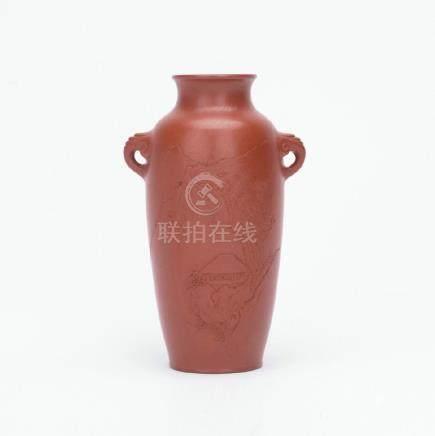 A nice carved zisha vase, two elephant ear handles