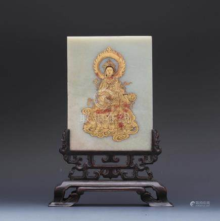A gold painted on white jade screen with zitan stand