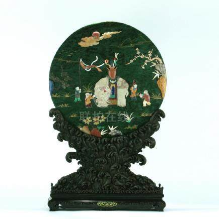 A nice spinach green jade screen/zitanwood carved stand