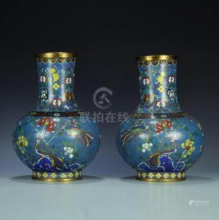 A pair 19/20th C. cloisonne vases