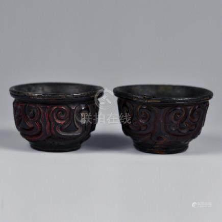 Pair old Tixi cups