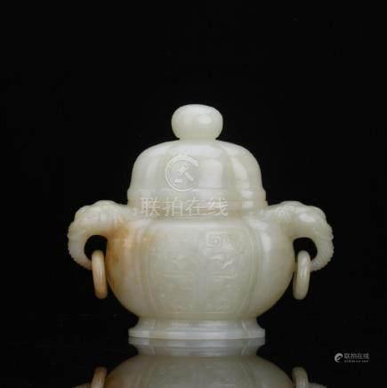 A nice carved white jade covered censer