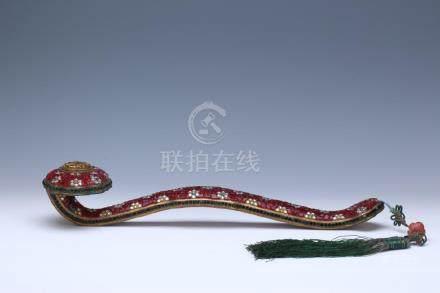 A lovely gilt bronze Ruyi sceptre