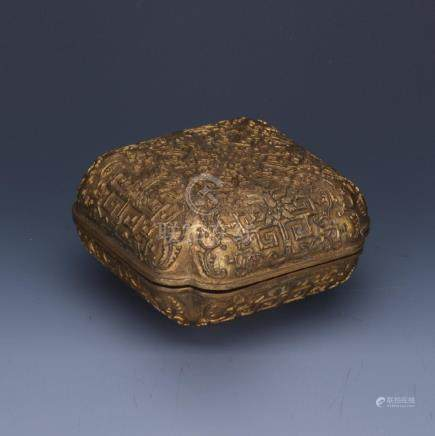A carved lovely gilt bronze square box