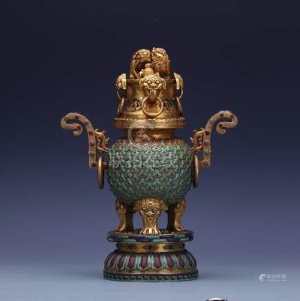 A gilt bronze tripod censer with gems