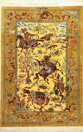 Very Fine Silk Qum 'Dakhili' Rug 'Signed' (TheHunting),