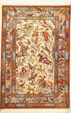 Fine Silk Qum Rug (The Hunting),