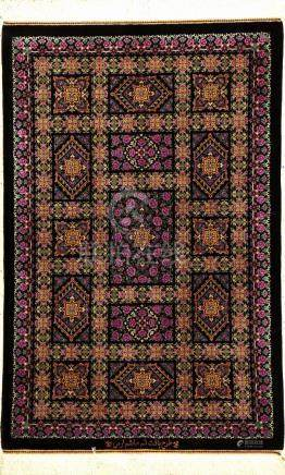 Very Fine & Unique Silk Qum 'Erami' Rug (Signed),