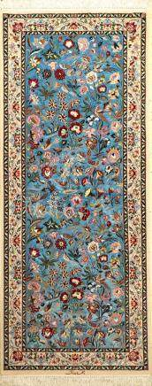 Fine & Rare Sky-Blue Isfahan 'Zangane' Rug (Silk