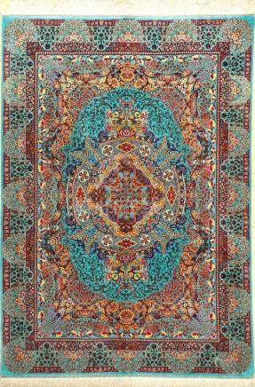 Very Fine Sky-Blue & Unique Silk Qum 'Sedaghat' Rug
