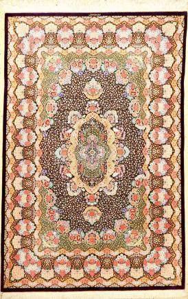 Very Fine Silk Qum 'Mousavi' Rug 'Signed' (Mille-Fleur