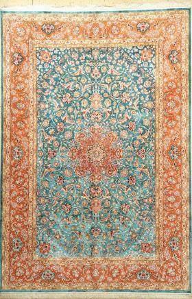 Fine Sky-Blue Isfahan 'Mostafa Nasri' Carpet 'Signed'